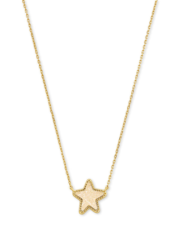 Jae Star Short Gold Pendant in Iridescent Drusy