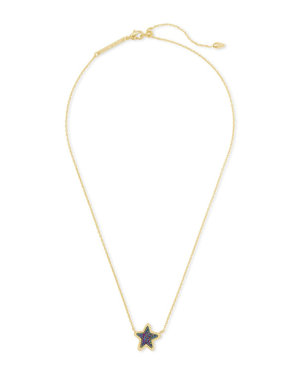 Jae Star Gold Pendant Necklace in Multi Drusy