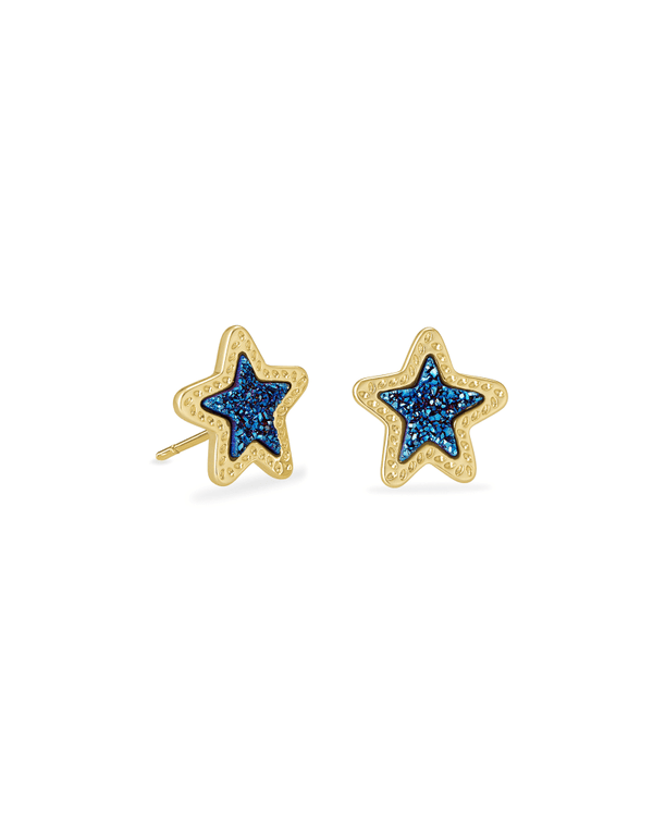 Jae Star Gold Stud Earrings in Blue Drusy