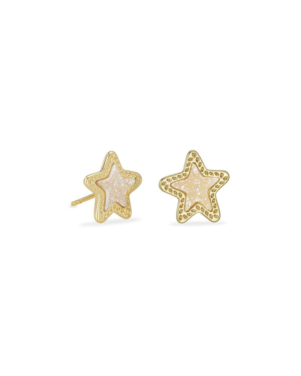 Jae Star Gold Stud Earrings in Iridescent Drusy