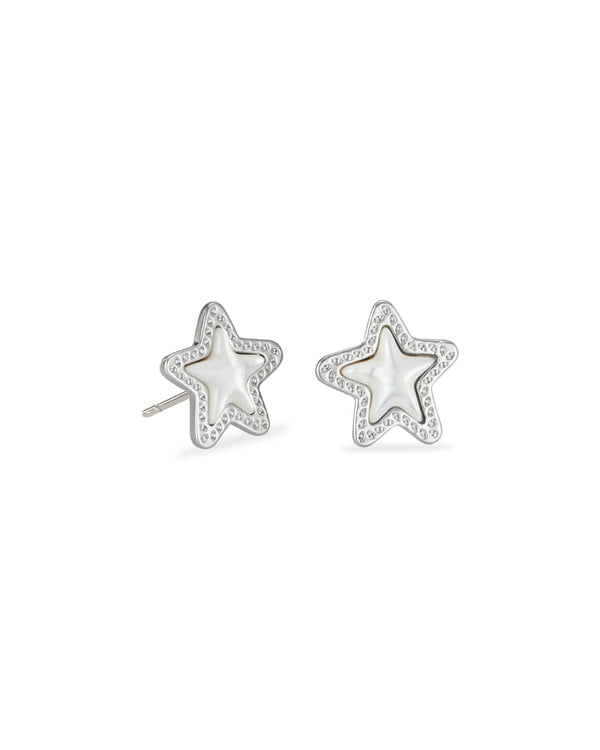 Jae Star Silver Stud Earrings in Ivory Mother of Pearl