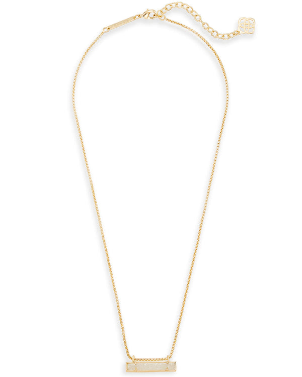 KENDRA SCOTT Leanor Bar Pendant Necklace In Gold Iridescent Drusy