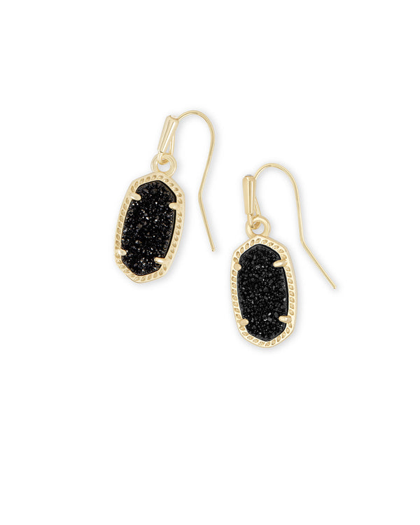 Lee Gold Drop Earrings In Black Drusy