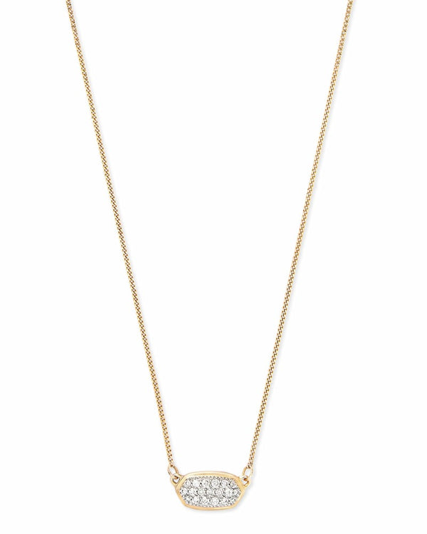 Lisa 14k Gold Necklace in White Diamond
