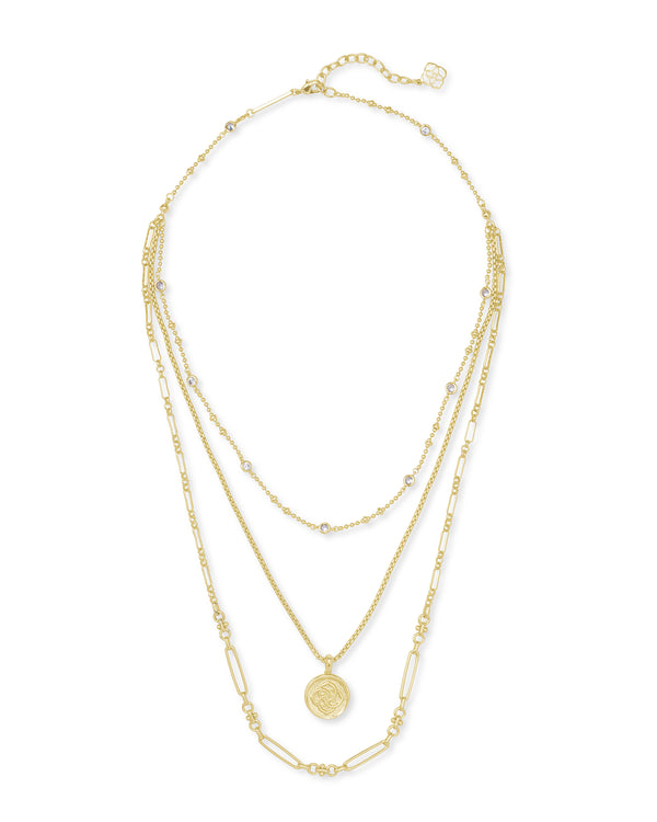 Medallion Triple Strand Necklace in Gold