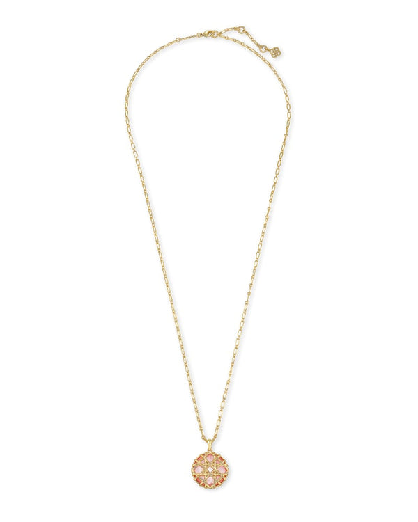 Natalie Gold Long Pendant Necklace In Rose Mother of Pearl