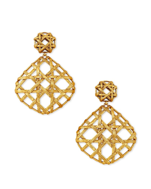 Natalie Gold Statement Earrings In Vintage Gold