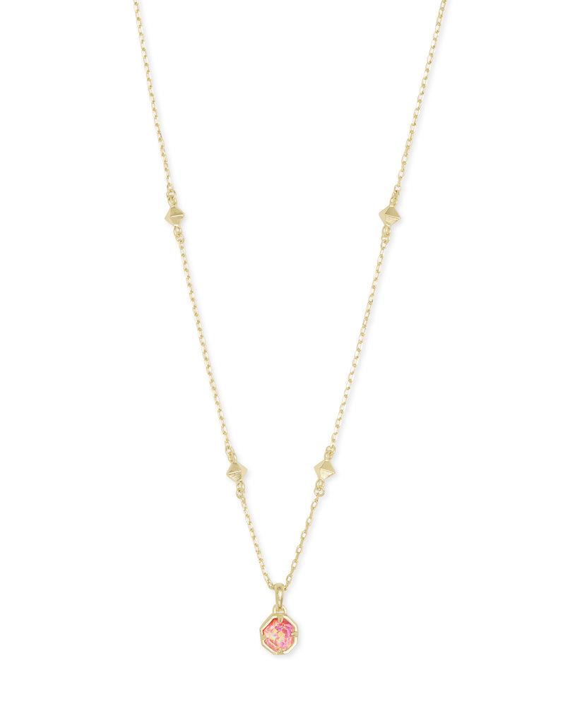 Nola Gold Pendant Necklace In Coral Kyocera Opal Illusion