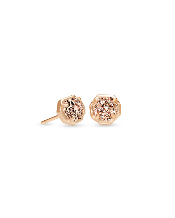 Nola Rose Gold Stud Earrings Rose Gold Drusy
