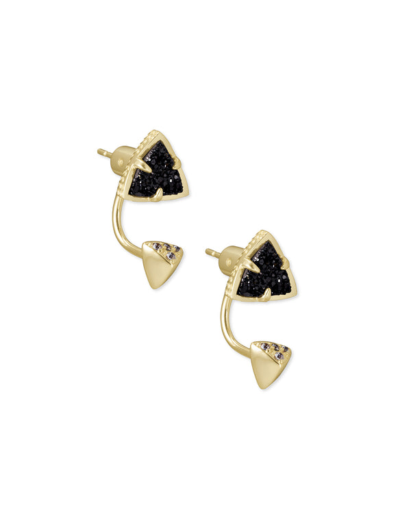 Perry Gold Ear Jackets in Black Drusy