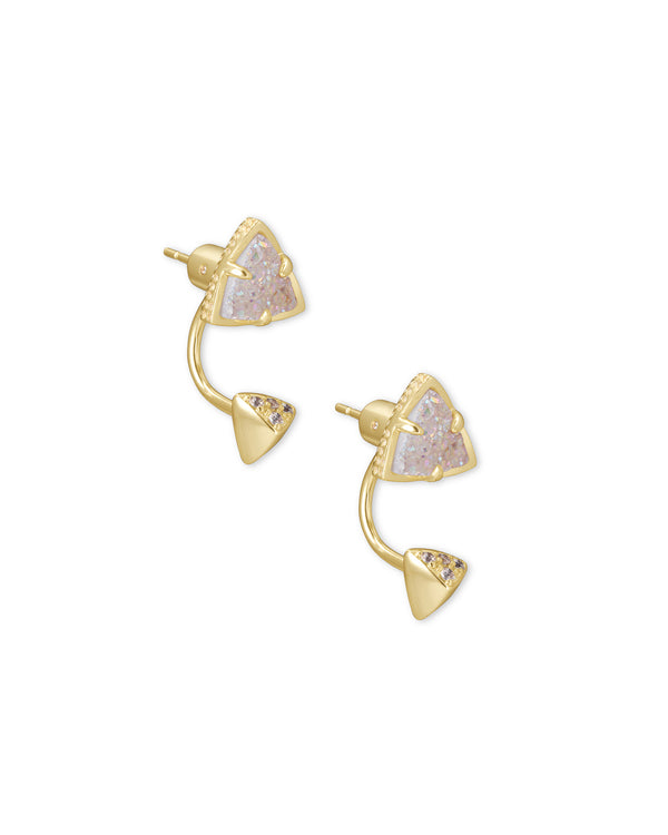 Perry Gold Ear Jackets in Iridescent Drusy