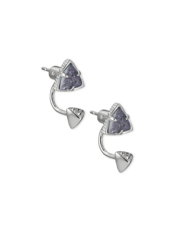 Perry Silver Ear Jackets in Steel Gray Drusy