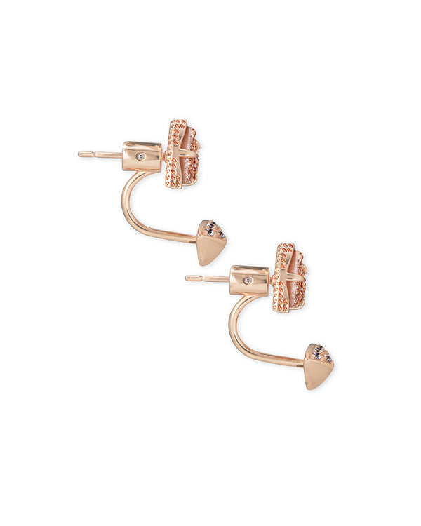 Perry Rose Gold Ear Jackets in Sand Drusy