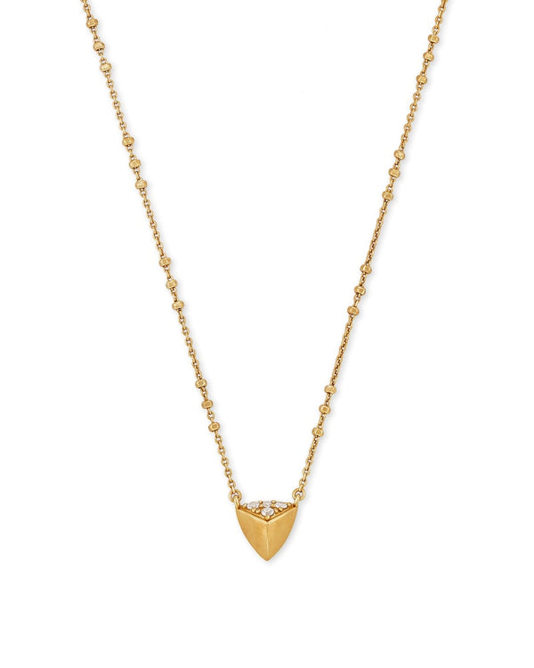 Perry Short Pendant Necklace in Vintage Gold