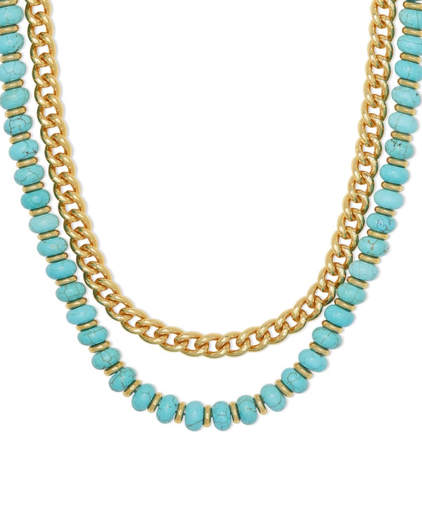Rebecca Gold Multi Strand Necklace In Variegated Turquoise Magnesite