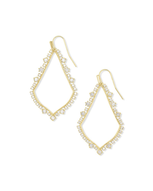 Sophee Crystal Drop Earring, Gold White CZ