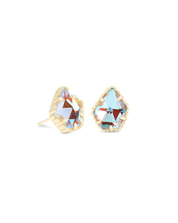 Tessa Gold Stud Earrings In Dichroic Glass
