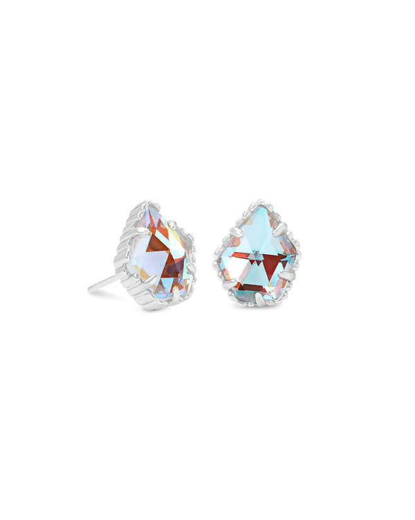 Tessa Silver Stud Earrings In Dichroic Glass