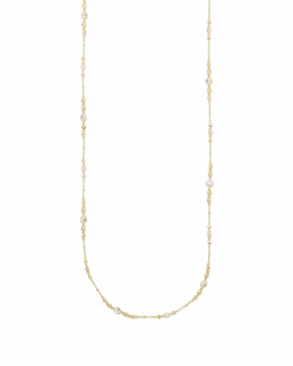 Wyndham Necklace, Gold White CZ