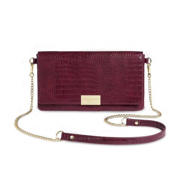 Celine Faux Croc Fold Over Crossbody, Burgundy