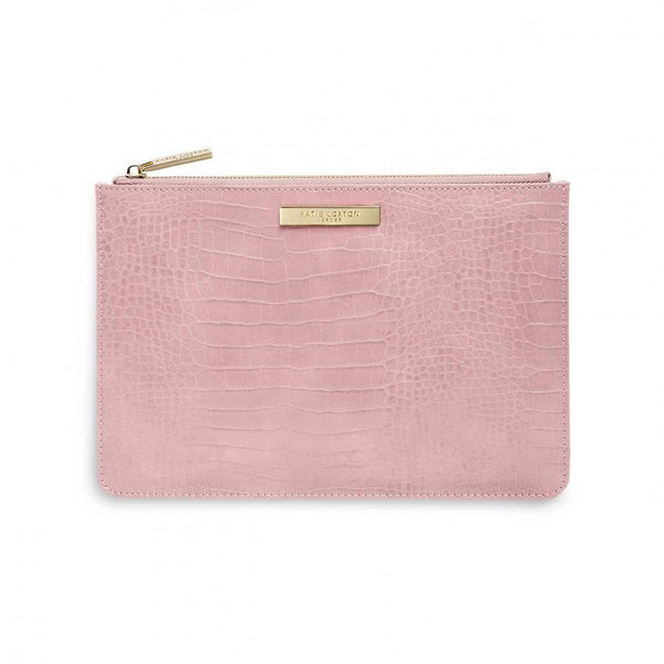 Celine Faux Croc Perfect Pouch, Pink
