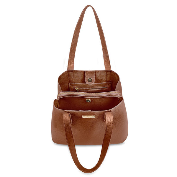 Riley Shoulder Purse, Cognac
