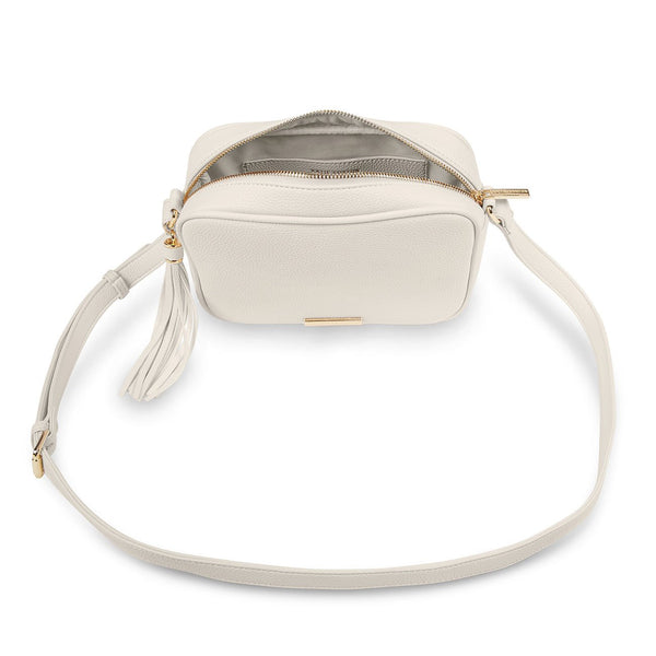 Sophia Tassel Crossbody Purse, Off White