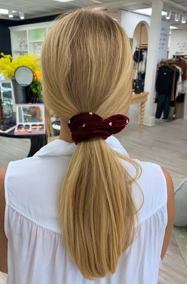 Maroon Jewel Scrunchie