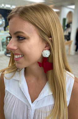 Maroon Texas Pom Earrings