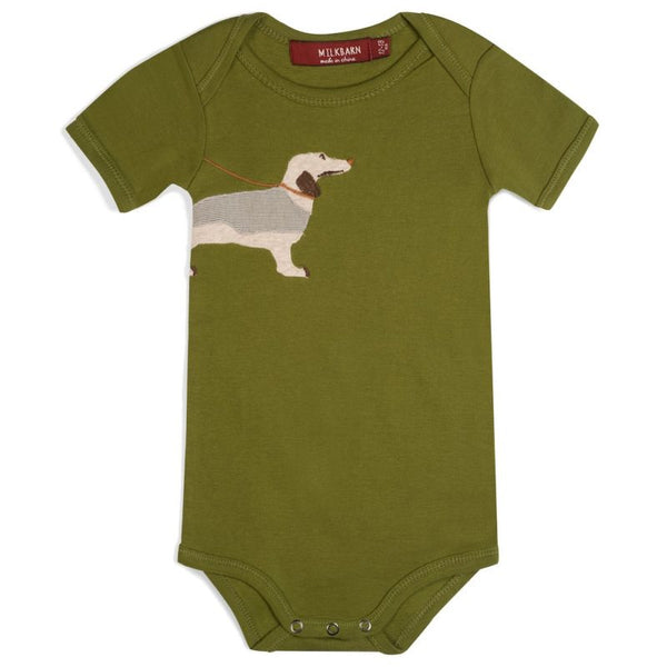 ORGANIC GREEN DOG APPLIQUE ONE-PIECE