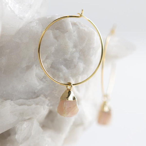 Bella Earrings, Pink Opal