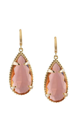 Classic Teardrop Drop Earrings in Peach Glass
