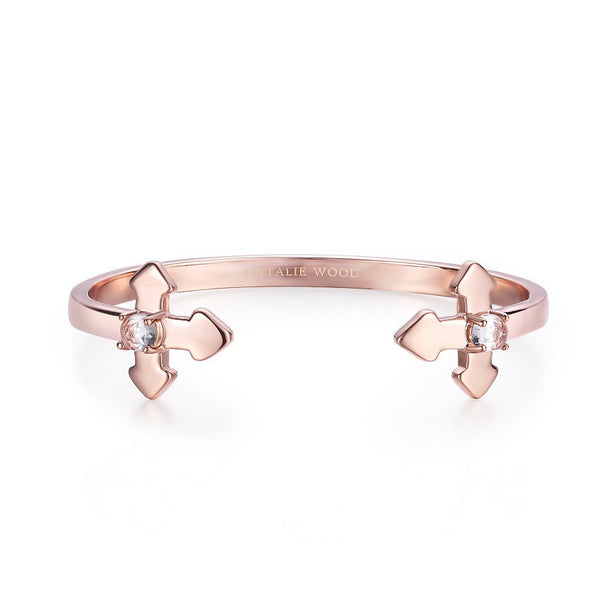 NATALIE WOOD DESIGNS Believer Cross Cuff Bracelet in Rose Gold