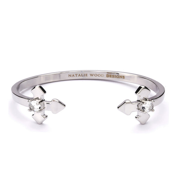 NATALIE WOOD DESIGNS Believer Cross Cuff Bracelet in Silver