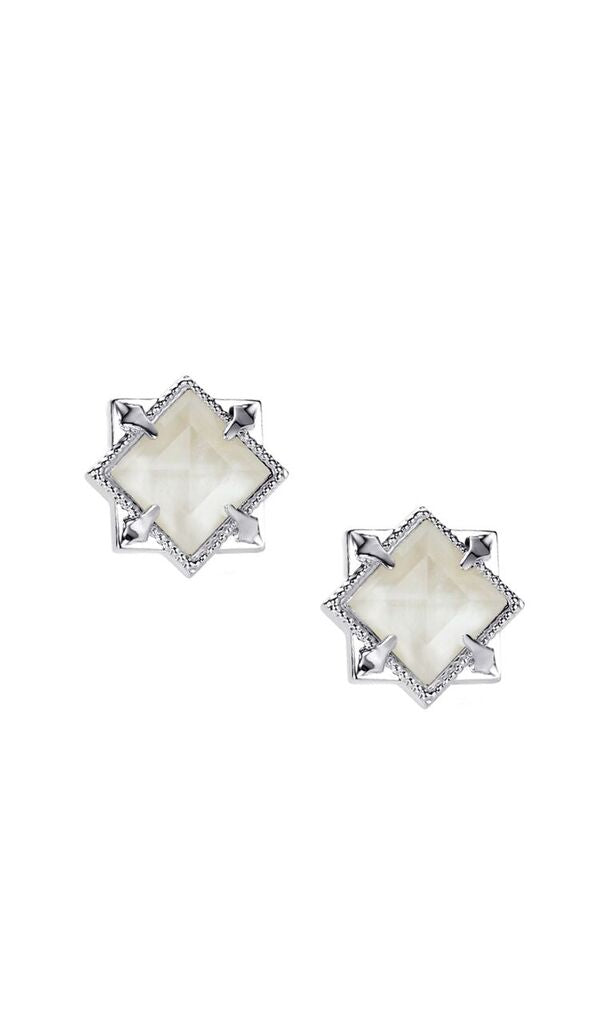 NATALIE WOOD DESIGNS Runaway Romantic Pyramid Stud Earrings in River Pearl - Silver