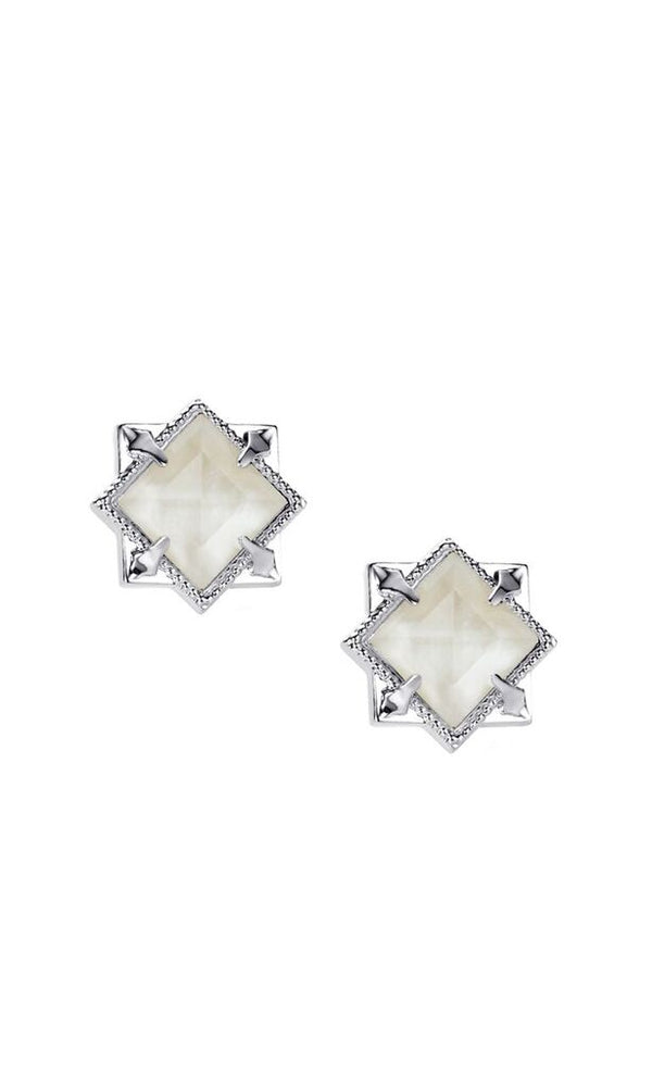 Runaway Romantic Silver Pyramid Stud Earrings in White Pearl