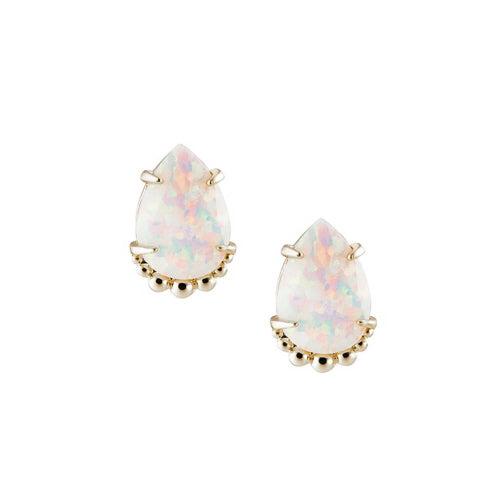 She's A Gem Teardrop Stud Earrings in White Kyocera Opal