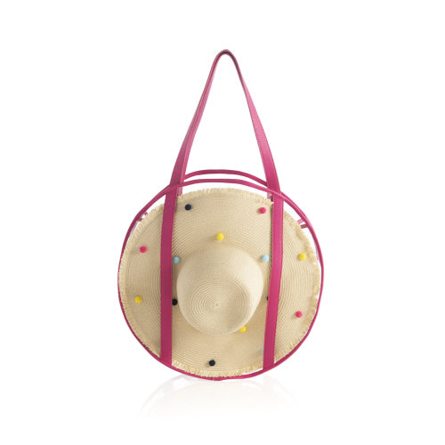 BUBBLE BEACH TOTE WITH SUN HAT, PINK