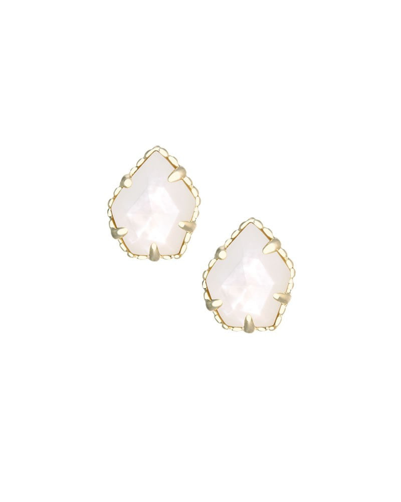 KENDRA SCOTT Tessa Gold Stud Earrings in Ivory Mother-of-Pearl