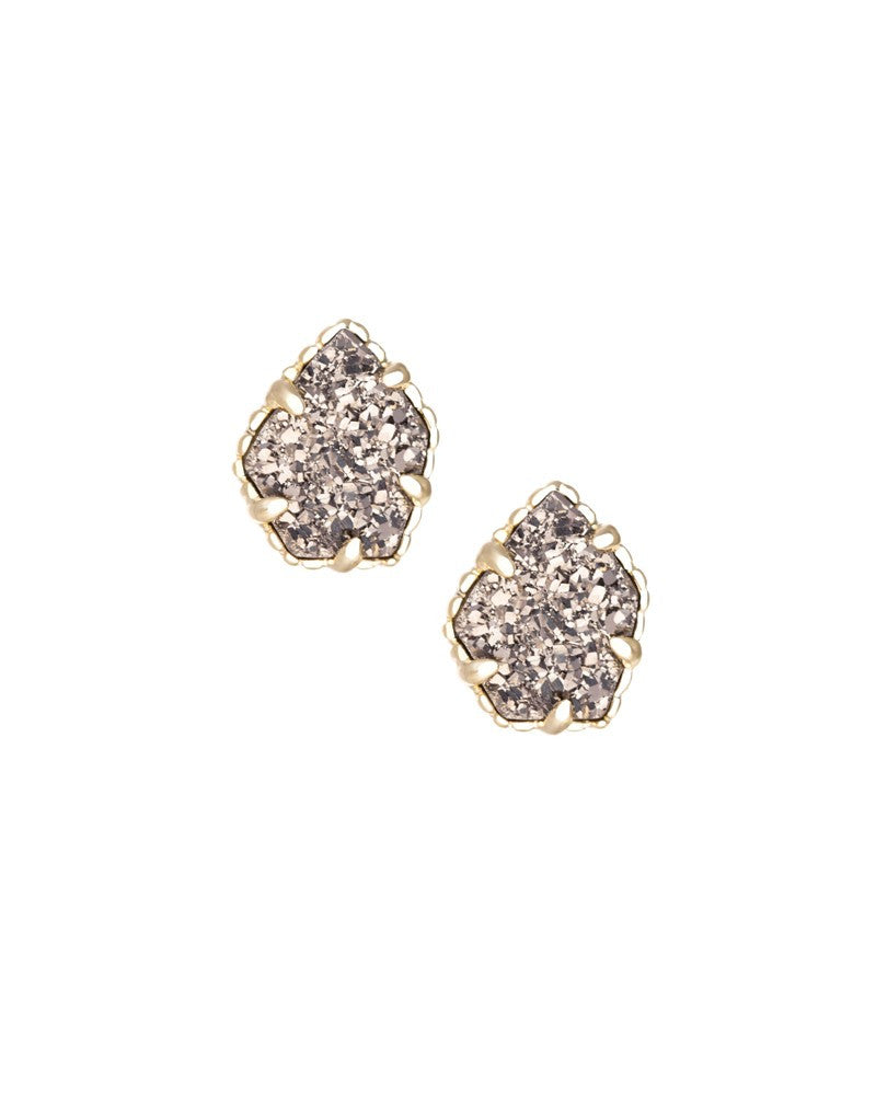 KENDRA SCOTT Tessa Stud Earrings in Platinum Drusy - Sabi Boutique - 1
