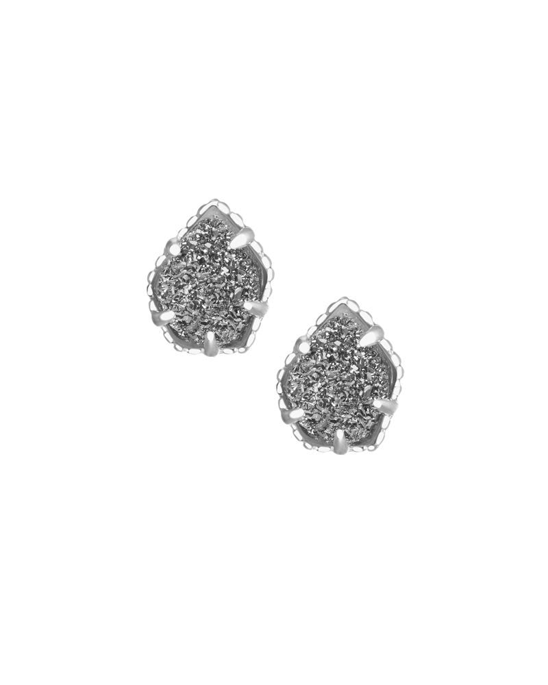 KENDRA SCOTT Tessa Stud Earrings in Silver Platinum Drusy