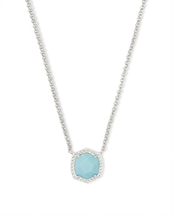 Davie Silver Short Pendant Necklace in Light Blue Magnesite