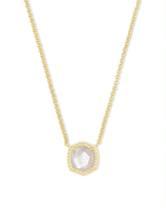 Davie Gold Short Pendant Necklace in Gold Ivory Mother of Pearl