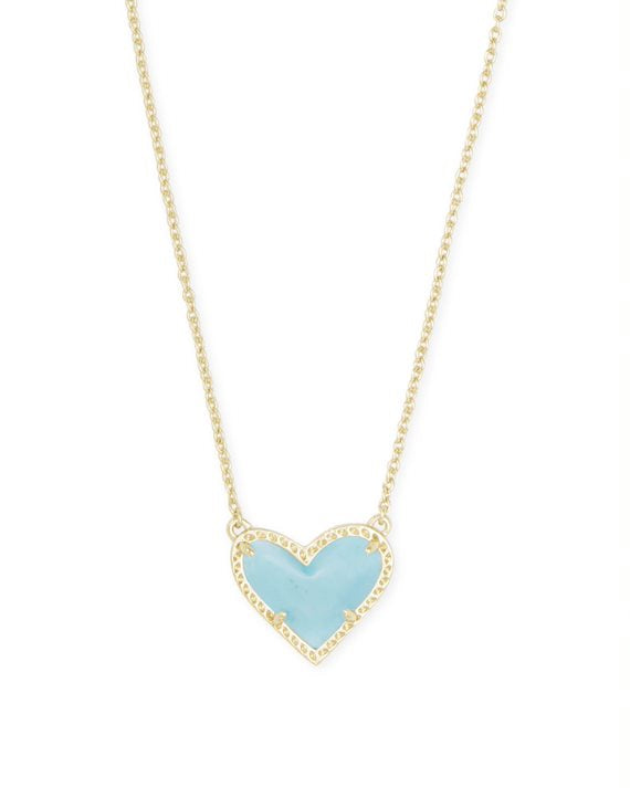 Ari Gold Heart Short Pendant Necklace in Light Blue Magnesite