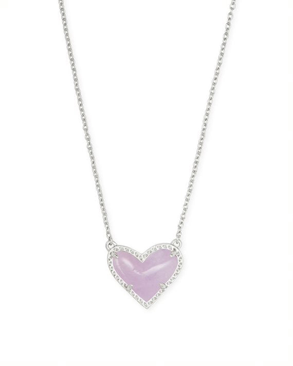 Ari Silver Heart Short Pendant Necklace in Amethyst