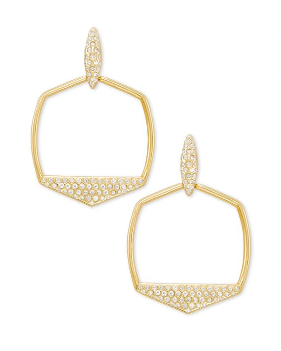 Selena Open Frame Earrings in Gold
