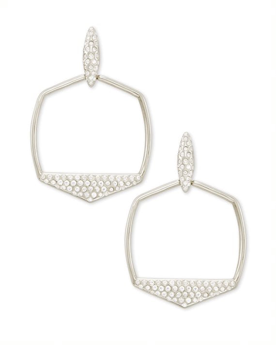 Selena Open Frame Earrings in Silver