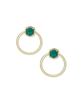 Davie Gold Hoop Earrings in Dark Teal Amazonite