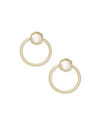 Davie Gold Hoop Earrings in Ivory Mother of Pearl