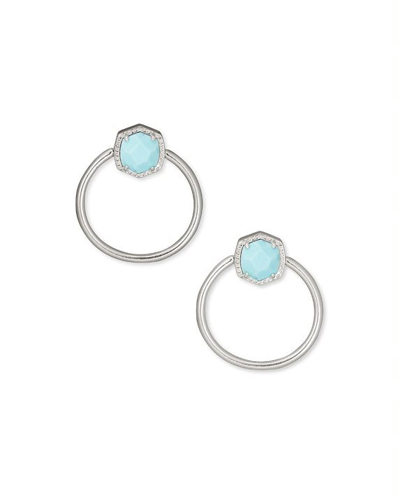 Davie Silver Hoop Earrings in Light Blue Magnesite